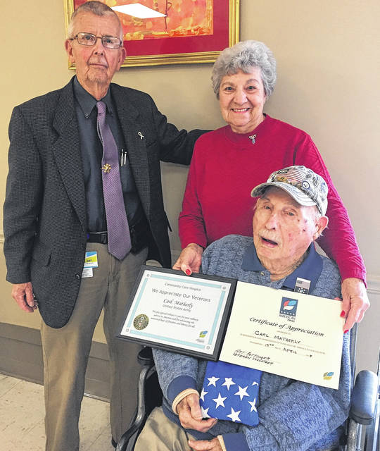 Continental Manor Nursing & Rehabilitation Center in Blanchester on April 19 honored 101 year-old World War II veteran Carl Matherly, who was presented with an appreciation pin from American Pride in association with Community Care Hospice by Art Rettinger, veteran volunteer, in recognition of his service for our country. Mr Matherly served under General George Patton as a rifle sharpshooter in Battery A of the 455th Calvary in Normandy, Northern France, Rhineland, Germany, and Central Europe. He received EAME Theater Ribbon with four Bronze Stars, American Defense Service Medal and the Good Conduct Ribbon. He was honorably discharged from the U.S. Army as a Private First Class after serving from April 14, 1941 to October 23, 1945. Pictured with Carl is Art Rettinger and Carl's daughter, Beth West.