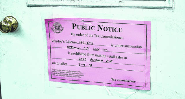 The Ohio Department of Taxation posted this notice at the business nearly a month ago. The business remains closed as of Friday, April 6.