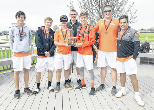 The Wilmington High School tennis team won the Hurricane Invitational tournament Saturday on the WHS courts. Team members are, from left to right, Avery Bradshaw Brayden Rhoads, Jack Romer, Jonathan Fender, Mason McIntosh, Drew Moyer and Brady Henry.
