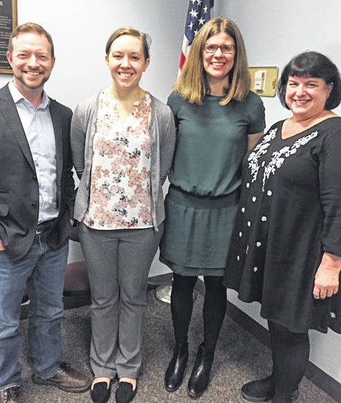 The 2018 midterm primary and general elections were the focus of the April meeting of the local Alliance for Compassion and Truth. Pictured from left are 15th District Democratic congressional candidate Rob Jarvis, co-keynote speaker; Wilmington City Councilwoman Kelsey Swindler, who presented an update on council business; co-keynoter Emily Brown, representing the campaign of her father, U.S. Senator Sherrod Brown (D-Ohio); and Democratic Clinton County commissioner candidate Rhonda Wheasler.