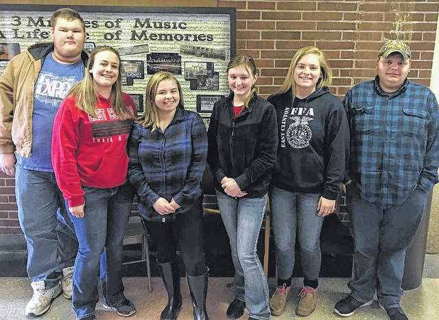 By East Clinton FFA From left are Milk Quality and Products team members Dakota Zurface, Alexis Garen, Rheanna McQueen, Paige Bowman, Grace Cooper and AJ Roerich.