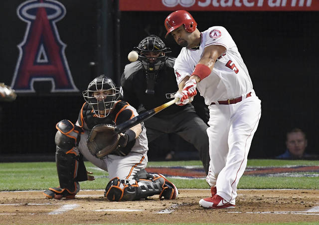 FILE - In this May 2, 2018, file photo, Los Angeles Angels' Albert Pujols, right, hits a solo home run in front of Baltimore Orioles catcher Caleb Joseph, left, and home plate umpire Roberto Ortiz during the first inning of a baseball game in Anaheim, Calif. Baseballs really are getting extra lift, and it's not from the exaggerated upper cuts batters are taking, according to a 10-person committee of researchers hired by the commissioner's office. (AP Photo/Mark J. Terrill, File)