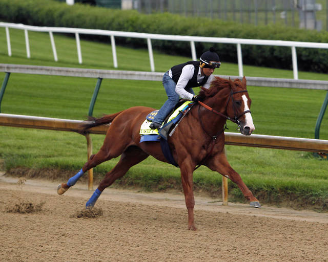 Jockey Martin Garcia works Triple Crown hopeful Justify at Churchill Downs in Louisville, Ky., Tuesday, May 29, 2018. (AP Photo/Garry Jones)