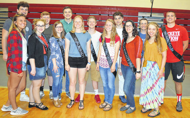 "The Clinton-Massie High School prom royalty will enjoy their reign Saturday, May 5 at The Roberts Centre where the prom theme will be ""The Great Gatsby."" In the front row from left are Abby Gullette, Elie Ross, Lauren Ellis, Claire Carruthers, Allie Houseman, Ashton Hagerman and Cat Hodge; and in the back row from left are Sam Brothers, Zach Bolling, Andrew Garrett, Jacob Campbell, Dylan Merrill, Cam Collett and Trey Uetrecht."