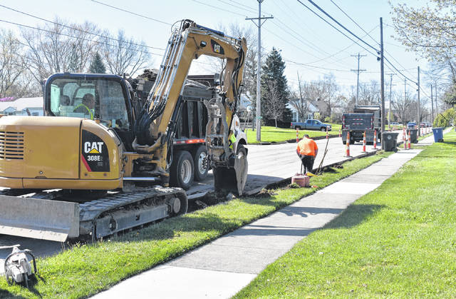 New curbs are being installed on the east and west sides of Lincoln Street in anticipation of the road paving occurring next month, according to Wilmington Safety/Service Director Brian Shidaker. New curbs were also installed on East Birdsall Street between Galvin Park and the library.