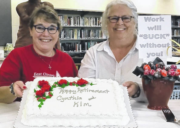 East Clinton School District congratulates and wishes a happy retirement to Kim Allen and Cynthia Saylor. Thank you for your many years of service to the schools.