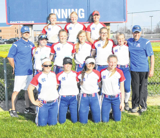 The Clinton-Massie softball team shared championship honors with Western Brown. The SBAAC American Division title came down to Wednesday's game between the two top teams and the Lady Broncos came out on top which forged a tie with the Lady Falcons at 9-1. In the photo, from left to right, front row, Lindsey Amberger, Kendall Anderson, Victoria Sivert, Lindsey Carter; middle row, coach Anthony Lauer, Natalie Lay, Taylor Florea, Hailey Clayborn, Emily Rager, Alexis Doan, coach Greg Clayborn; back row, Kelsey Carter, Claire Carruthers, Ashlie Miller.