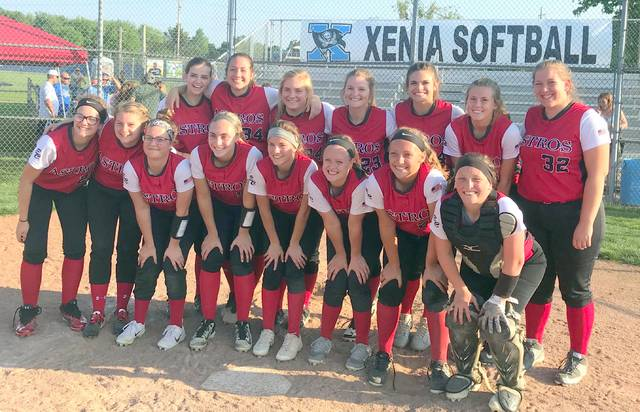The East Clinton softball team, champions of the Dayton 1 sectional, from left to right, front row, Kiya Byrd, Emily Tong, Miranda Beener, Mackenzie Campbell, Taylor Boeckmann, Makayla Smith, Jericka Boggs, Marah Dunn; back row, Alyssa Stoops, Sierra Christian, Grace Cooper, Kayla hall, Katelyn Talbot, Kaitlin Durbin, Rhylee Luttrell. Coaches not in the team photo are Matthew Zimmerman, Jeanne Brightman, Bob Hazelbaker, Trevor Dunn.