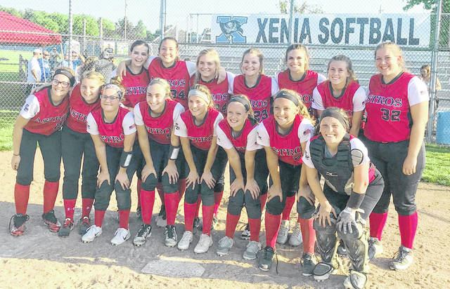 The East Clinton softball team, champions of the Dayton 1 Sectional, will face SBAAC rival Williamsburg 5 p.m. Friday at Hamilton High School in one of three Division III Southwest District championship games. Team members are, from left to right, front row, Kiya Byrd, Emily Tong, Miranda Beener, Mackenzie Campbell, Taylor Boeckmann, Makayla Smith, Jericka Boggs, Marah Dunn; back row, Alyssa Stoops, Sierra Christian, Grace Cooper, Kayla Hall, Katelyn Talbot, Kaitlin Durbin, Rhylee Luttrell. Coaches not in the team photo are Matthew Zimmerman, Jeanne Brightman, Bob Hazelbaker, Trevor Dunn.
