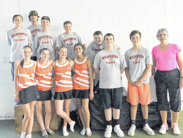 The Wilmington Area Tennis Association middle school tennis team, from left to right, front row, Taylor Noszka, Jenna Taylor, Claire Burns, Isaac Martini, Parker Henry, coach Cathy Fay; back row, Trey Reed, Shayne Hendricks, Brenten Nielsen, Ian Dalton, Dirk Rinehart.