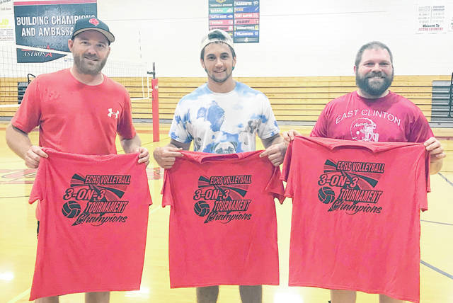 The team of Jeremy McGraw, Erik Moore, Mark Scovanner and Steven Sodini won the annual East Clinton 3-on-3 volleyball tournament Wednesday at ECHS. The winners topped a field of 11 teams. In the photo, from left to right, McGraw, Moore and Scovanner. Sodini was not in the photo.