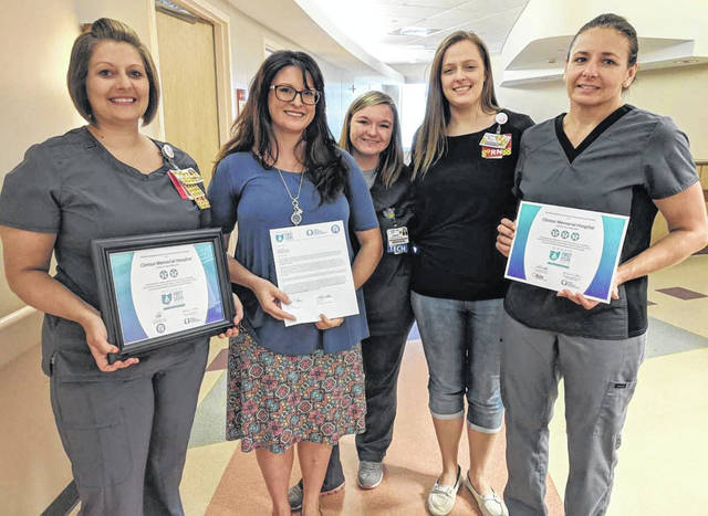 From left are: Stephanie Vance, RN; Bonnie Rusch, RN and Director of Mother-Baby Care; Lindsey Bell, OB Tech; Lynsee Fields, RN; and Renee Quallen, RN and Lactation Consultant.