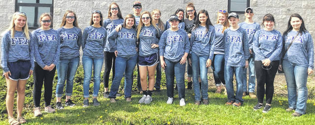 Pictured are the State Convention trip members. From left are Cora Shattuck, Makenna Maddix, Maddie Wells, Erin Wilson, Caili Baumann, Lilly Tedrick, Logan Heitzman, Brighton Morris, Abby Spurling, Olivia Caplinger, Holly Scott, Audrey Heitzman, Jillian Richardson, Ashleigh Osborn, Taylor Cochran, Tim Rannells, Chloe Taylor and Felicity Richardson.