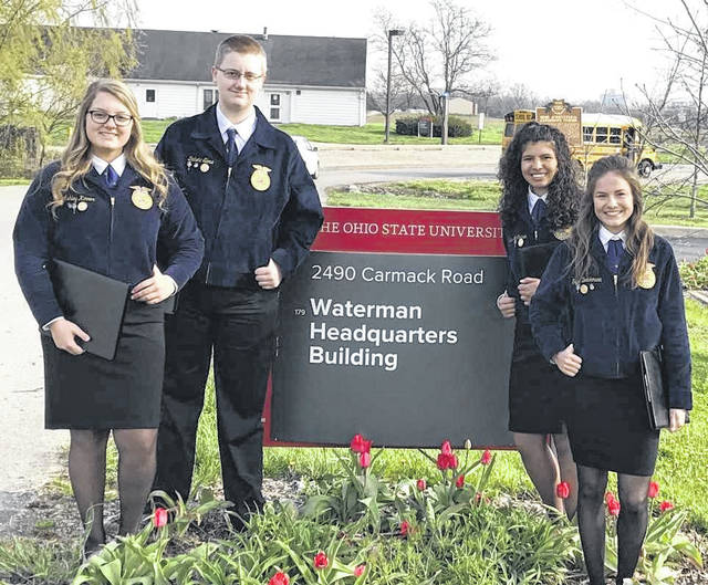 From left are the East Clinton FFA members who will represent the club at Nationals — from left, Ashley Kinner, Dakota Slone, Gracie McCarren and Taylor Boeckmann.