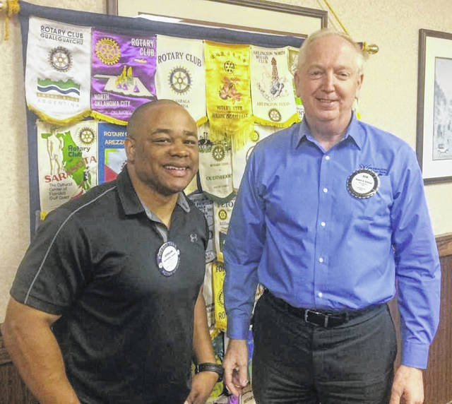 From left are Jermaine Isaac, Director of Parks and Recreation for City of Wilmington, and Bob Schaad, President of the Wilmington Rotary Club.