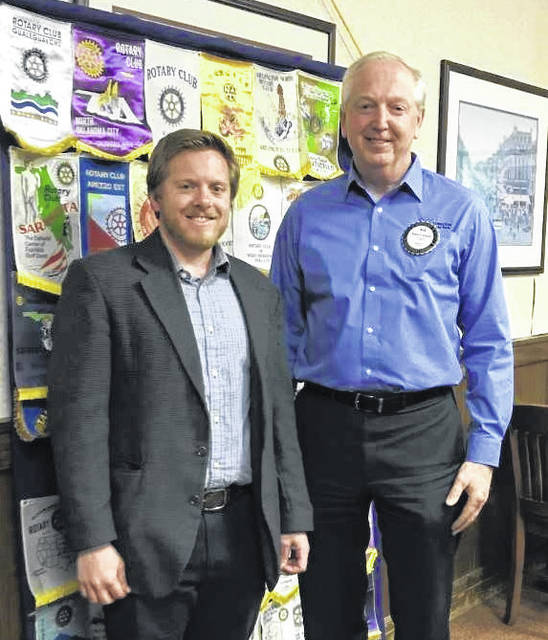 Taylor Stuckert, Executive Director of the Clinton County Regional Planning Commission, and Bob Schaad, President of the Wilmington Rotary Club.