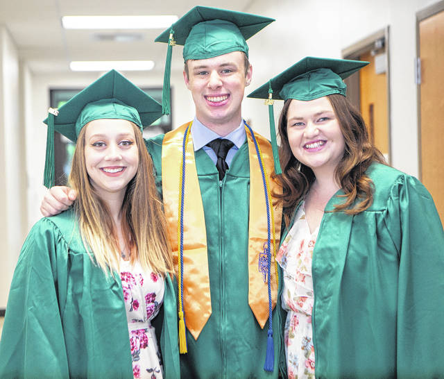 From left are new Chatfield College graduates Bailey Myers, Branson Young and Jocelyn Kuha. In May they received Associate of Arts degrees.