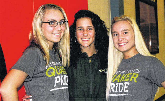 From left are last Friday's three WHS graduates who will cheer on the WC Quakers starting this fall semester: Brittany Gregory, Lauren Hall and Katie Jones.