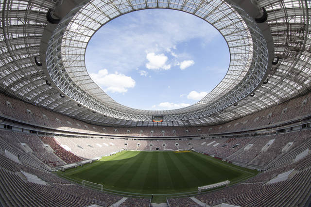 FILE - This June 28, 2017, file photo shows the refurbished Luzhniki stadium in Moscow, Russia, where the opening match and final of the World Cup will be played when the soccer world gathers at 12 stadiums in 11 cities across the European portion of Russia starting June 14 for a 32-day, 64-match championship. (AP Photo/Denis Tyrin, File)