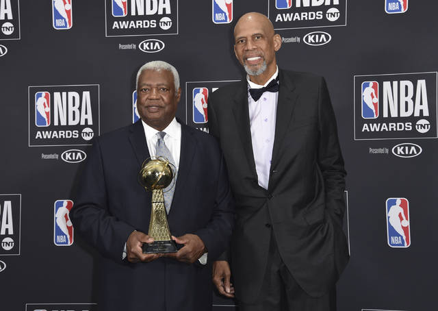 """Oscar """"The Big O"""" Robertson, winner of the lifetime achievement award, left, and Kareem Abdul-Jabbar pose in the press room at the NBA Awards on Monday, June 25, 2018, at the Barker Hangar in Santa Monica, Calif. (Photo by Richard Shotwell/Invision/AP)"""