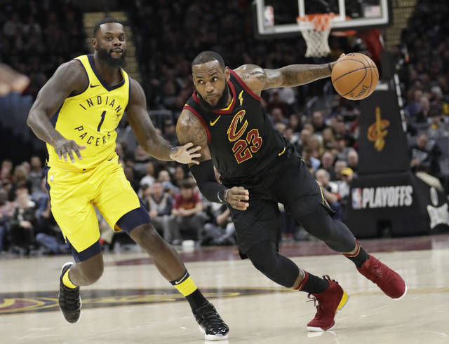 FILE - In this April 29, 2018, file photo, Cleveland Cavaliers' LeBron James (23) drives against Indiana Pacers' Lance Stephenson (1) in the first half of Game 7 of an NBA basketball first-round playoff series, Sunday, April 29, 2018, in Cleveland. The appeal for James to stay home is different now than it was eight years ago when he bolted for Miami. He's more matured, and with three children and a burgeoning business empire, his priorities, responsibilities and goals are different. (AP Photo/Tony Dejak, File)