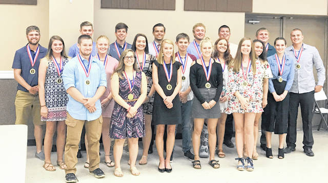 The 20 nominees for the 2018 Wilmington News Journal Clinton County Scholar-Athlete Award. Clinton-Massie's Anne Thompson and Blanchester's Brant Bandow were named winners of the award Thursday night at the Expo Center at the Clinton County Fairgrounds.