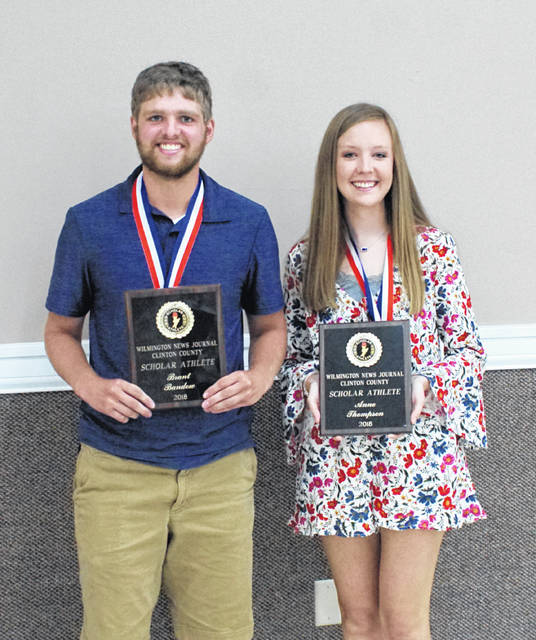 Blanchester's Brant Bandow and Clinton-Massie's Anne Thompson were named winners of the 2018 Wilmington News Journal Clinton County Scholar-Athlete Award Thursday night at the Expo Center on the Clinton County Fairgrounds.