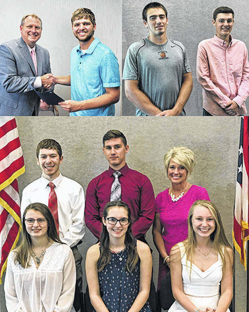 Shown in this composite photo are, from left: In the top two photos are Doug Naylor, BAC Chairman; Brant Bandow, Blanchester High School; and Matthew Smith and Ridgeden Beam, Wilmington High School; in the bottom photo are, front, Shelby Williams, East Clinton High School; Sophia Reed, Wilmington High School; and Hailey Stinchcomb, Clinton-Massie High School, and back, Noah Brausch, Clinton-Massie High School; Colton Smith, Wilmington High School; and Beth Justice, Southern Ohio ESC Superintendent.