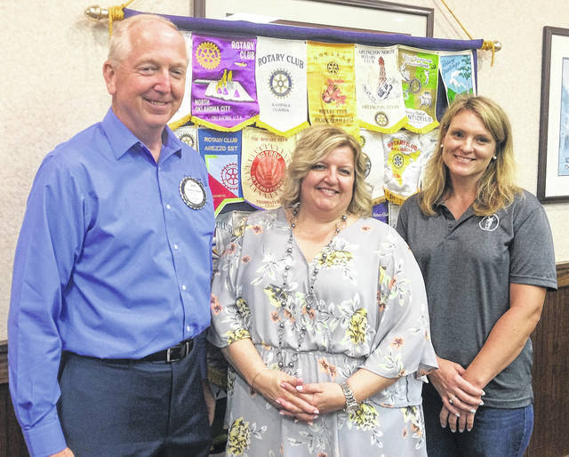 From left are Bob Schaad, President of the Wilmington Rotary Club; Susan Valentine-Scott, Executive Director of the Clinton County Convention and Visitors Bureau; and Erin McMurry, Sales Coordinator of the World Equestrian Center.