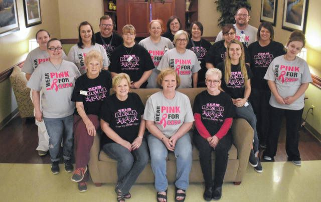 The Laurels of Blanchester nursing staff wearing shirts showing support of their fellow nurse Sara Reifenberger who was diagnosed with stage 4 breast cancer.