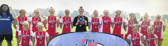 The Ohio Galaxies FC 99 Girls Elite soccer team, including WHS graduate Katlyn Jamiel, second from left in back row.