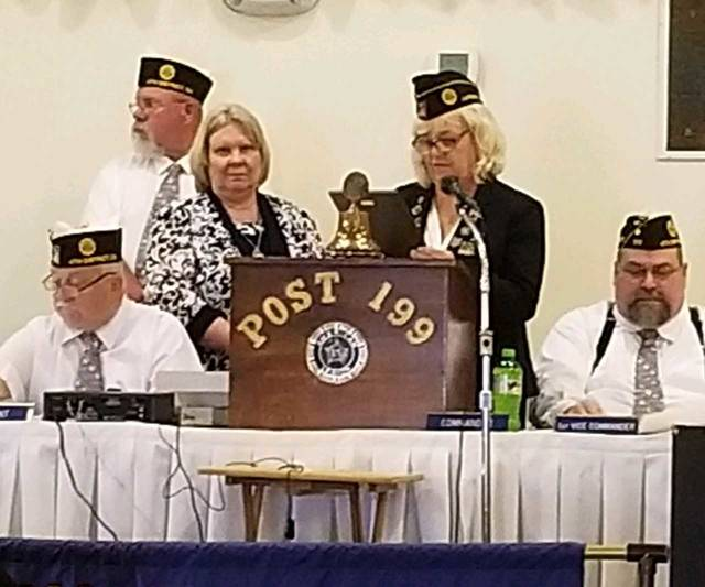 Nancy Reeves of East Clinton Middle School was recognized as the American Legion 4th District Teacher of the Year. Presenting the award is 4th District Americanism Chairman Jean Wilson. Nancy was previously recognized as American Legion Post 49 Teacher of the Year.