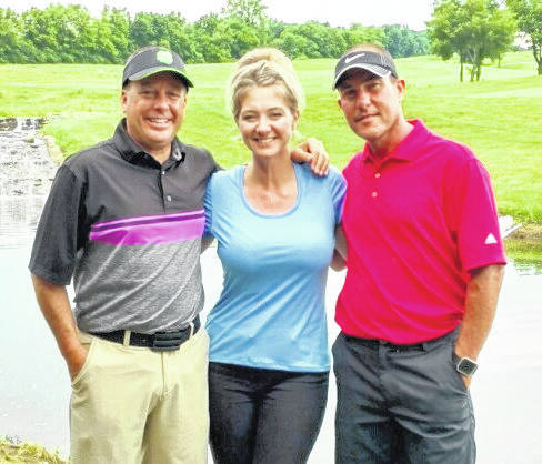 The Peoples Bank team had a 56 to win the Sugartree Ministries golf outing Friday at Majestic Springs Golf Course. In the photo, from left to right, are Chip Phillips, Gabby Wedding and Chad Custis. Team member Nikki Custis was not present for the photo.