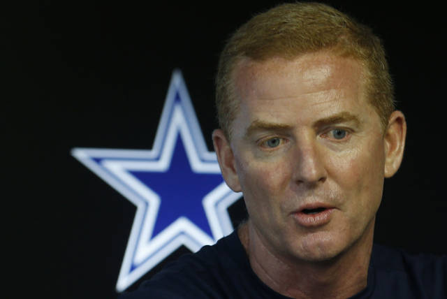 FILE - In this May 23, 2018, file photo, Dallas Cowboys head coach Jason Garrett speaks at a press conference during an organized team activity at its NFL football training facility in Frisco, Texas. Garrett has 67 regular-season wins since taking over in the 2010 season. He has had only one losing season as head coach. However, he has reached the postseason only twice and won one game in the playoffs. (AP Photo/Ron Jenkins, File)