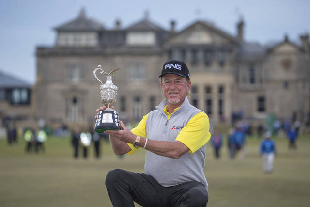 Spain's Miguel Angel Jimenez celebrates winning the Senior Open at Old Course St Andrews, Scotland, Sunday July 29, 2018. (Kenny Smith/PA via AP)