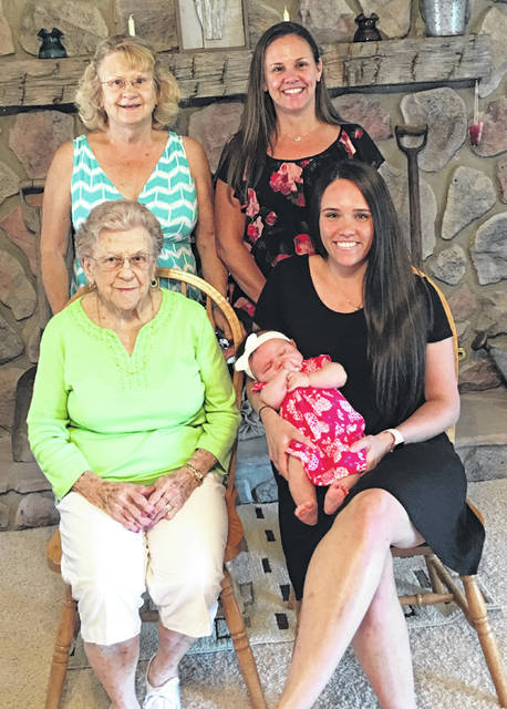 Five generations of a family recently gathered, from left: front, great-great-grandmother Jane Thompson of Wilmington, and mother Megan Cooperider of Colorado Springs holding her daughter, 3-month-old Peyton; and, back, great-grandmother Sharon Vipperman of Waynesville and grandmother Tonya Randolph of Powell.