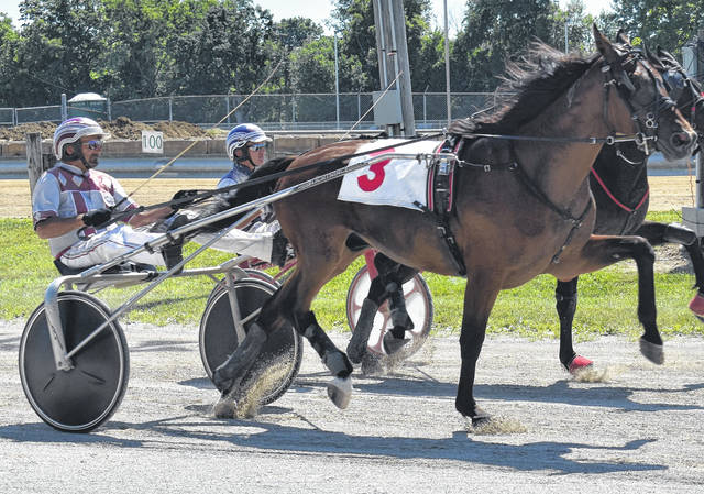 One of the 12 races from Sunday's harness racing program at the Clinton County Fair.