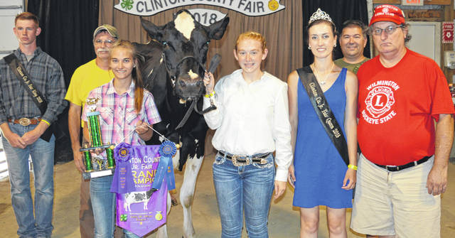 Destennie Hupp's supreme champion dairy project drew an $800 premium at the Junior Fair Dairy Sale in Clinton County. The buyers are ATSG (Air Transport Services Group), American Equipment Service, American Legion Post 49 in Wilmington, BDK Feed & Supply, COBA Select Sires, Collett Propane, Dr. Connie Horn, Nationwide Insurance (Justin Holbrook), Panetta Excavating Inc., Prengers Inc., R+L Carriers / Roberts Centre, Skyline Chili Wilmington, Wilmington Auto Center (Chrysler, Dodge, Jeep), Wilmington Lions Club, Wilson Family Pygmy Goats, World Equestrian Center, contribution in memory of Gary Quallen, No. 1 China Buffet, Hupps Auto, and Crawford Machine.