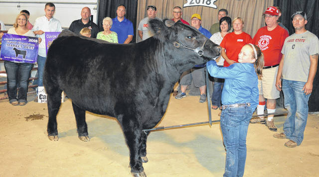 "Taylor Barton's grand champion market beef project fetched a $3,425 premium at the Junior Fair Market Beef Sale in Clinton County. The buyers are Agro Chem East, Air Transport International (ATI), American Equipment Service, Barton Farms, Belles Farm Animal Veterinary Services, Bush Auto Place, Cherrybend Pheasant Farm / Ellis Farms, Country View Hospital (Dr. Jill Thompson), Chad and Alison Davis Family, William ""Bill"" Davis, DeBold Builders, Farm Credit Services, Five Points Implements Co., Flint Concessions, Bill Flint Family, Groves Tire & Service, Keri and Alex Hodson, J&L Farms, JD Equipment 8 locations, Martinsville Lions Club, McCarty Gardens, Milled Right Inc., Peoples Bank, R+L Carriers / Roberts Centre, Rob's Equipment, Ryan Seaman Building & Contracting, Schneder Farms, Seaman Construction, Service Master by Angler, Skyline Chili Wilmington, Smith Farms Trucking, Southern Hills Community Bank, Chris and Brooke Stingley, Town Drug of Sabina / Kratzer's Hometown Pharmacy, Ron Trusty Insurance, Walker Farms, Wilmington Lions Club, Wilmington Savings Bank, Wolfe Farms Show Cattle LLC, World Equestrian Center, Hess Auction Co. LLC, Hess Family Cattle, Skeeter and Cindy Hamilton, Greater Tomorrow Health, Advanced Hydraulics & Hoses, Custom Cabs & Trailers, Carney's Feed Mill, Coldwell Banker Heritage Realtor, No. 1 China Buffet, Alex Anderson and John Carney, Halee Ann Photography, Hunter Meats, State Farm Insurance, Bronson Door Co., and Connie Miller."