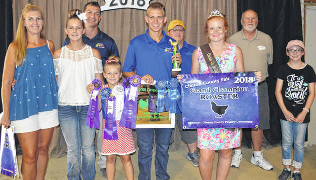 Aidan Hester's grand champion roaster sold at the Junior Fair Market Poultry Sale in Clinton County. Aidan is a member of the Marion Hustlers II 4-H Club. The buyers are American Equipment Service, BDK Feed & Supply, Bollinger Plumbing, Bush Auto Place, Clinton Animal Care Center, First State Bank, Fisher-Edgington Funeral Home, Hester Seal Coating, Johnson Farms, Lowes, NCB-FSB, Nationwide Insurance (Justin Holbrook), PNC Bank, Rippling Rock Hereford Farm, Skyline Chili Wilmington, Southern Hills Community Bank, Wilmington Auto Center (Chrysler, Dodge, Jeep), R & R Tool Inc., Bronson Door Co., and Gradeco Paving.