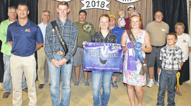 """Anastasia Newberry's grand champion fryer was sold at the Clinton County Junior Fair's Market Poultry Sale. Newberry is a member of the New Vienna Buckeyes 4-H Club. The buyers are Air Transport International (ATI), American Equipment Service, American Showa, Arehart-Brown Funeral Services LLC, BDK Feed & Supply, Clinton Animal Care Center, Collett Propane, Country View Hospital (Dr. Jill Thompson), D&S Freight, Generations Pizzeria, Grant Trucking, Johnson Farms, Long's Pharmacy, Martinsville Lions Club, Nationwide Insurance (Justin Holbrook), Southern Hills Community Bank, Wilmington Auto Center (Chrysler, Dodge, Jeep), Greater Tomorrow Health, R & R Tool Inc., No. 1 China Buffet, Worldwide Battery, Falgner Realty, and """"Pay it Forward"""" Farm."""