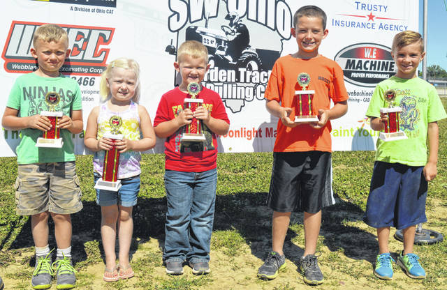 This young set of trophy winners is from the Garden Tractor Pull on Saturday. From left are Grayson Rodgers, Sadie Kerns, Luke Hall, Brody Webb and Adron Hale.