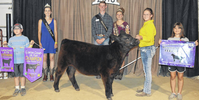 Haley Dean's reserve champion feeder calf drew a premium of $1,875 at the Clinton County Junior Fair's Feeder Calf Sale. The buyers are ATSG (Air Transport Services Group), AgriGold Hybrids, American Equipment Service, Barton Farms, Clinton Memorial Hospital, Mike and Judy Cowman, Farm Credit Services, Generations Pizzeria, Groves Tire & Service, Hartman Family, JD Equipment 8 locations, Lowes, NCB-FSB, Nationwide Insurance - Justin Holbrook, Orchard Veterinary Care Inc., Panetta Excavating Inc., Peoples Bank, Polaris Industries, Greg and JoAnn Quallen, R+L Carriers / Roberts Centre, Red Dot Trophies, Ryan Seaman Building & Contracting, Sunrise Cooperative, Thompson Farms, Ron Trusty Insurance, Vaughan Livestock, Roger and Priscilla Vaughan, Wilmington Savings Bank, World Equestrian Center, Quallen's Lawn & Landscape, No. 1 China Buffet, and David and Melanie Seaman.