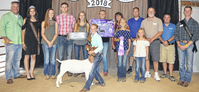 Ella Thompson's reserve champion market goat brought a $2,675 premium at the Clinton County Junior Fair's Market Goat Sale. The buyers are ATSG (Air Transport Services Group), American Equipment Service, Arehart-Brown Funeral Services LLC, BDK Feed & Supply, Bradshaw Trucking, Bush Auto Place, Dave Campbell Insurance, Collett Farms / Pioneer Seeds, Country View Hospital (Dr. Jill Thompson), Farm Credit Services, Five Points Implements Co., Generations Pizzeria, Groves Tire & Service, JD Equipment 8 locations, Long's Pharmacy, Merchants National Bank, Modern Woodmen Fraternal Financial, Peoples Bank, R+L Carriers / Roberts Centre, Sunrise Cooperative, Thompson Farms, Vital Fitness, Walker Farms, World Equestrian Center, Peelle Law Offices Co. - C.P.A., No. 1 China Buffet, Campbell Co., MFA Inc., Drew Ag Farms, and State Farm Insurance.
