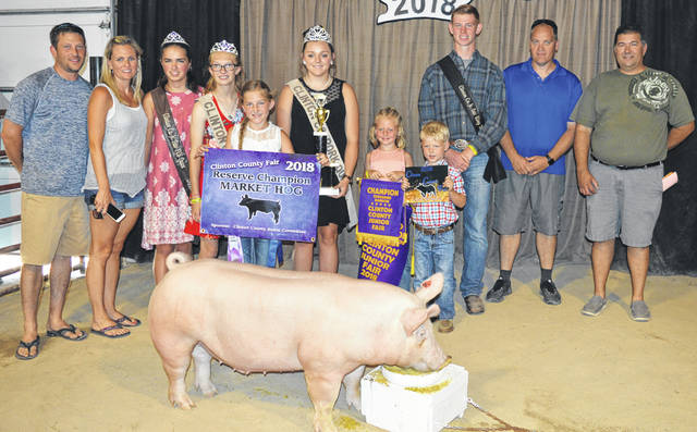 Audrey Wilson's reserve champion hog sold for $2,100 at the Clinton County Junior Fair livestock sales. Audrey is a member of the Marion Hustlers 4-H Club. The buyers are ATSG (Air Transport Services Group), Achor Club Lambs Lamb Power Club, AgriGold Hybrids, American Equipment Service, American Showa, BDK Feed & Supply, Belles Farm Animal Veterinary Services, Best One Tire Service, Black Walnut Farm, Cherrybend Pheasant Farm / Ellis Farms, Clinton Electrical and Plumbing Supply, Country View Hospital (Dr. Jill Thompson), D&S Freight, DeBold Builders, Rob and Karla Dean, Marci and Mitchell Ellis, Farm Credit Services, Generations Pizzeria, Jody Gundler DDS and Beth Strange DDS, Heeg Farms, Hillcrest Farms, Kidd's Excavating, LGSTX Services Inc., Lowes, Miller Farms & Trucking, Nationwide Insurance - Justin Holbrook, Bill and Tonya Ostermeier, Panetta Excavating Inc., Peoples Bank, Polaris Industries, R+L Carriers / Roberts Centre, Sams Meats, Service Master by Angler, Chris and Brooke Stingley, Sunrise Cooperative, Thompson Farms, Wilmington Auto Center (Chrysler, Dodge, Jeep), World Equestrian Center, No. 1 China Buffet, and the Boeckmann Excavating Co.