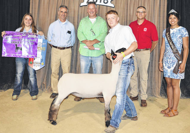 Craig Schiff's reserve champion lamb sold at the Clinton County Junior Fair livestock sales for a $1,025 premium. He is a member of the Blue Ribbon Kids 4-H Club. The buyers are ATSG (Air Transport Services Group), Alexander Show Feeds, Arehart-Brown Funeral Services LLC, Belles Farm Animal Veterinary Services, Bentley Pig Sale, Bush Auto Place, Dave Campbell Insurance, Judge Chad Carey, Cherrybend Pheasant Farm / Ellis Farms, Groves Tire & Service, JD Equipment 8 locations, Orchard Veterinary Care Inc., Peoples Bank, R+L Carriers / Roberts Centre, Rocky Morris Family, Sunrise Cooperative, Wilmington Lions Club, Wilmington Savings Bank, World Equestrian Center, Greater Tomorrow Health, Peelle Law Offices Co. - C.P.A., and No. 1 China Buffet.