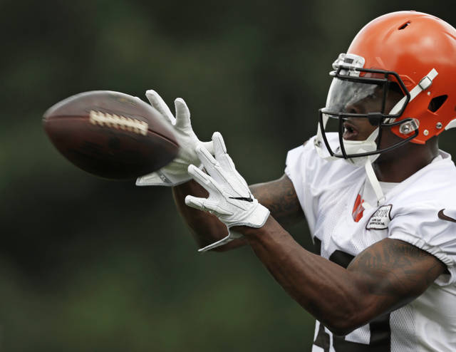 FILE - In this Friday, July 27, 2018, file photo, Cleveland Browns wide receiver Corey Coleman catches a pass during NFL football training camp, in Berea, Ohio. On Sunday, Aug. 5, 2018, a person familiar with the negotiations says the Cleveland Browns have agreed to trade disappointing wide receiver Corey Coleman to the Buffalo Bills for a draft pick. (AP Photo/Tony Dejak, File)
