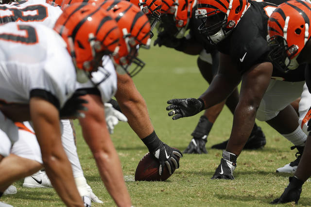 The Cincinnati Bengals line up for a play during NFL football practice, Monday, July 30, 2018, in Cincinnati. (AP Photo/John Minchillo)