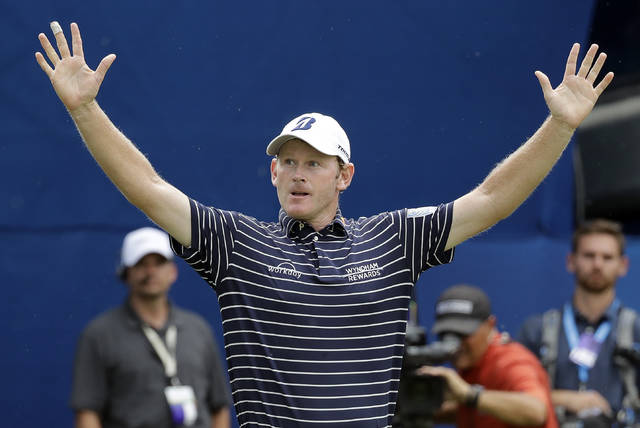 Brandt Snedeker reacts after winning the Wyndham Championship golf tournament at Sedgefield Country Club in Greensboro, N.C., Sunday, Aug. 19, 2018. (AP Photo/Chuck Burton)
