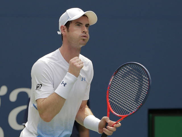 Andy Murray, of Great Britain, reacts during his match against James Duckworth, of Australia, during the first round of the U.S. Open tennis tournament, Monday, Aug. 27, 2018, in New York. (AP Photo/Andres Kudacki)
